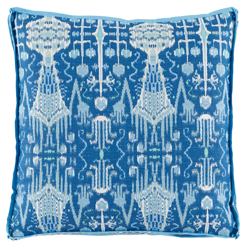 Lacefield Designs - Cobalt Ikat Printed Throw Pillow - D919