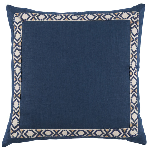 Lacefield Designs - Navy Linen Border Throw Pillow - D941