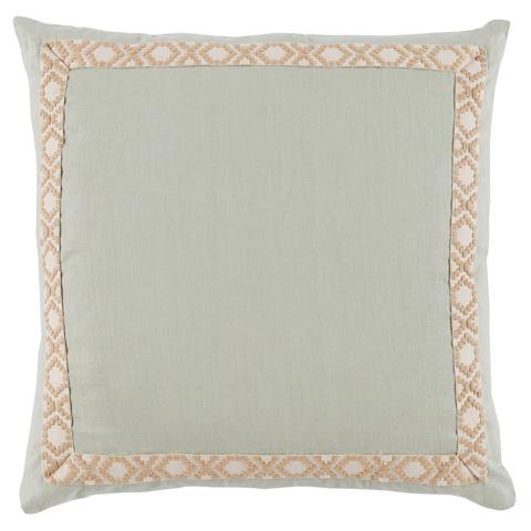 Lacefield Designs - Seafoam Mint Tan XO Trim Border Pillow - D945