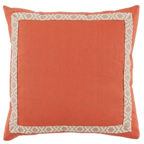 Lacefield Designs - Spice Orange Linen Braided Tape Border Pillow - D946