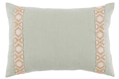Lacefield Designs - Seafoam Mint Linen Side Border Lumbar Pillow - D960