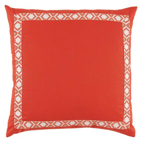Lacefield Designs - MandarinOrange Linen Border Throw Pillow - D989