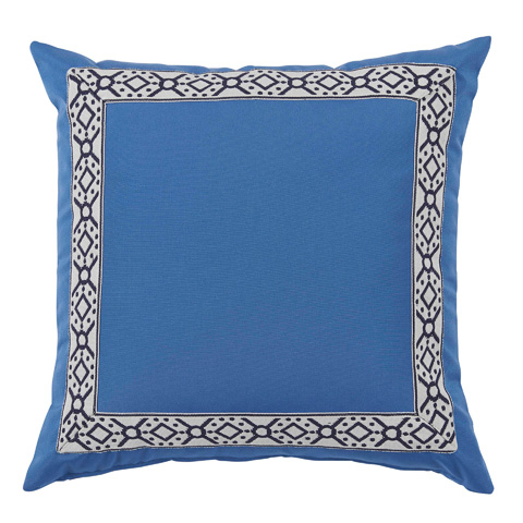Lacefield Designs - Typhoon Blue/Navy Print Tape Border Outdoor Pillow - OUT48