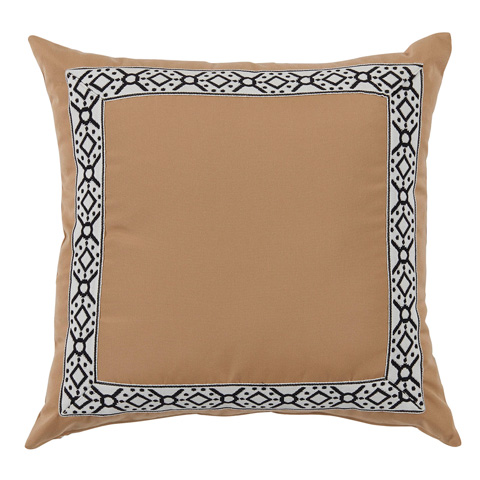 Lacefield Designs - Camel/Black Print Tape Border Outdoor Pillow - OUT53