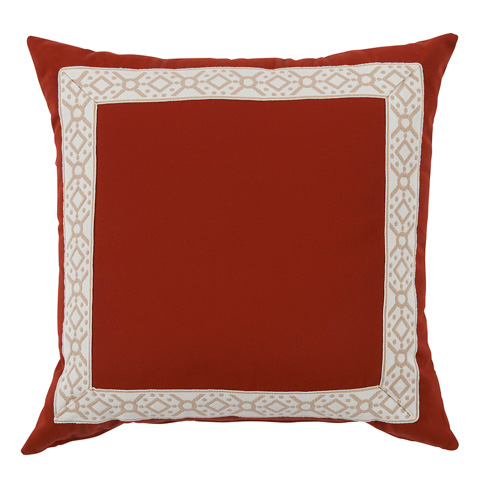 Lacefield Designs - Clay Red/Camel Print Tape Border Outdoor Pillow - OUT54