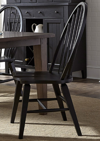 Liberty Furniture - Windsor Back Side Chair in Black - 482-C1000S