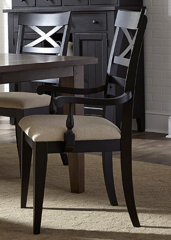 Liberty Furniture - X Back Arm Chair in Black - 482-C3001A