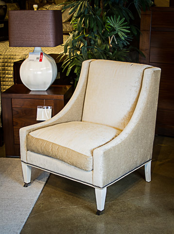 Lillian August Fine Furniture - Bone White Dudley Chair with Nailhead Trim - LA3105C