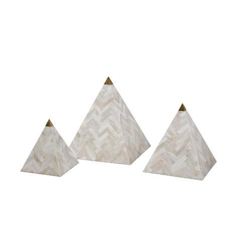 Maitland-Smith - Set of Three Clam Stone Pyramids - 1000-476