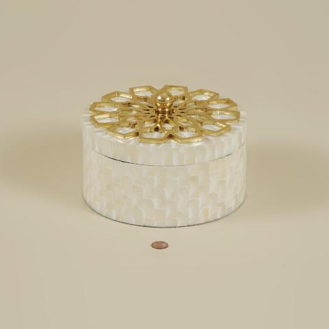 Maitland-Smith - Round Troca Shell Inlaid Box - 1100-564