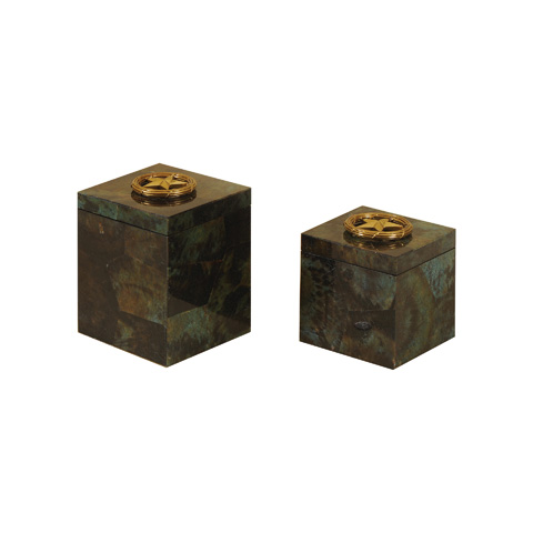Maitland-Smith - Set of Two Turquoise Inlaid Boxes - 1100-570