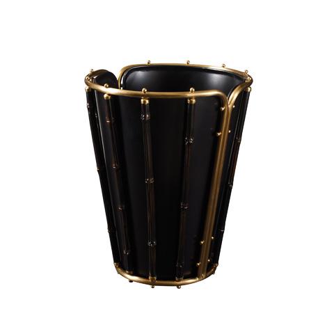 Maitland-Smith - Black Resin and Brass Waste Bin - 1354-294