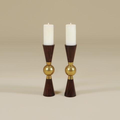 Maitland-Smith - Teakwood Candlestick - 1630-118