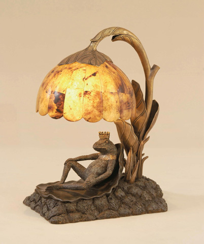 Maitland-Smith - Verdigris Brass Frog Prince Lamp - 1758-197
