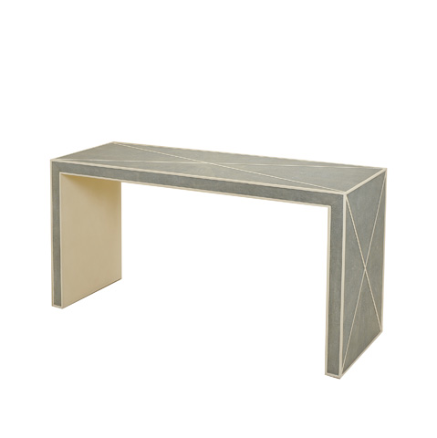 Maitland-Smith - Grey Shagreen Embossed Leather Console Table - 3420-105
