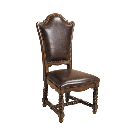Maitland-Smith - Hand Carved Dark Antique Lido Side Chair - 4030-624