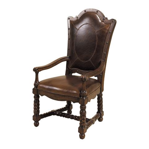 Maitland-Smith - Hand Carved Dark Antique Lido Armchair - 4130-645