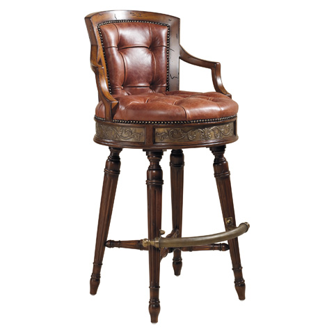 Maitland-Smith - Frontier Mahogany Swivel Barstool - 4230-644