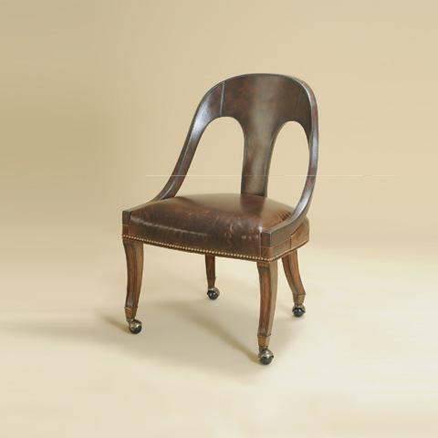 Maitland-Smith - Irish Walnut Briarwood Leather Game Chair - 4320-126