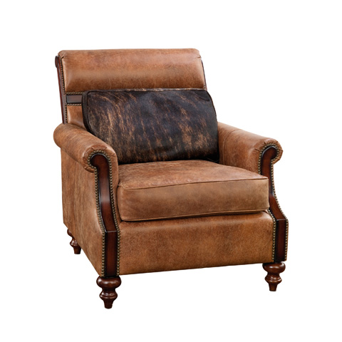 Maitland-Smith - Light Tan Leather Occasional Chair with Pillow - 4330-956