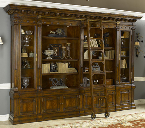 Maitland-Smith - Napoleon Brown Bookcase with Ladder - 5330-616