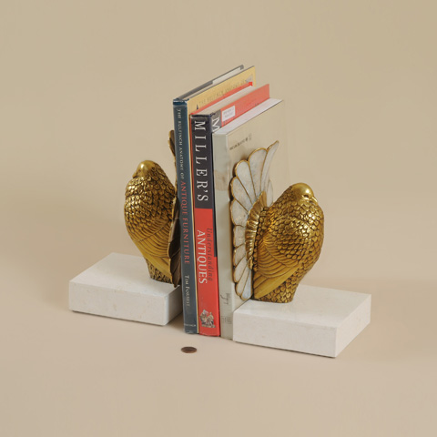 Maitland-Smith - Pair of Soft Finished Cast Brass Bird Bookends - 1254-361