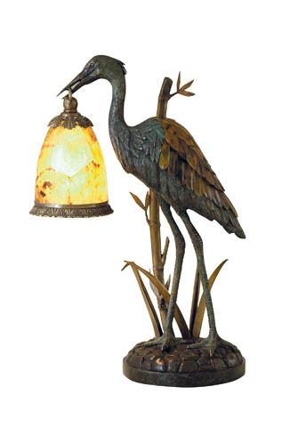 Maitland-Smith - Verdigris Patina Brass Crane Decorative Lamp - 1754-721