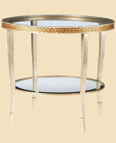 Marge Carson - Round Glass End Table - TAN04-1