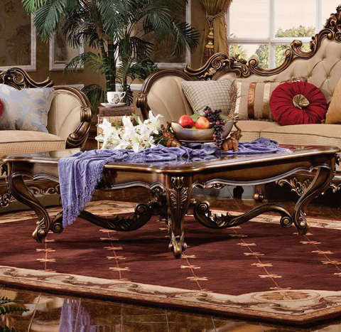 Orleans International - Barivia Coffee Table with Glass Top - 4923-007