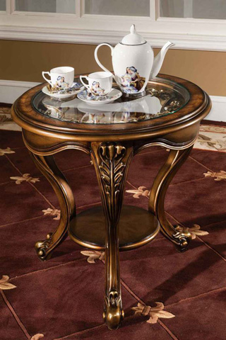 Orleans International - Barivia End Table with Glass Top - 4923-008