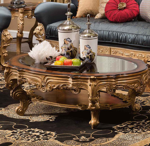 Orleans International - Medici Coffee Table with Glass Top - 4926-007