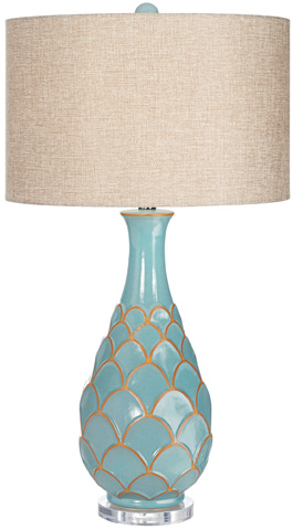 Pacific Coast Lighting - Pacific Fan Turquoise Table Lamp - 87-7574-95