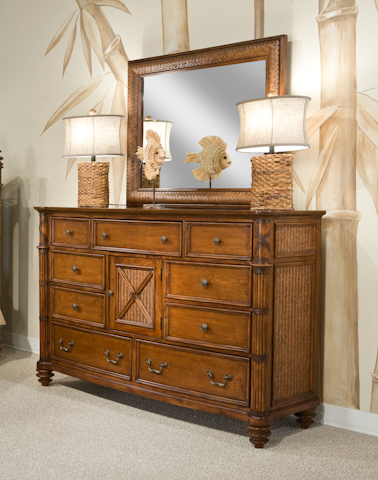 Palmetto Home - Island Breeze Bow Front Dresser with Mirror - 103-04/40