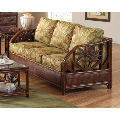 Pelican Reef - Upholstered Rattan and Wicker Sofa - 401-1365-TCA-S