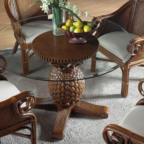 Pelican Reef - Indoor Rattan and Wicker Pineapple Dining Table - 401-3365-TCA