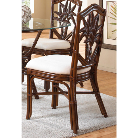 Pelican Reef - Indoor Rattan and Wicker Side Chair with Cushion - 401-3370-TCA-S