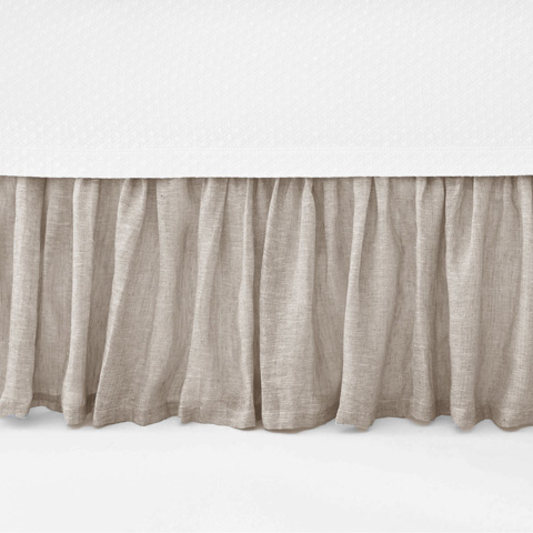 Pine Cone Hill, Inc. - Savannah Linen Chambray Dove Grey Bed Skirt - King - SADGBSK