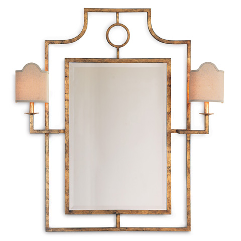 Port 68 - Doheny Gold Mirror With Sconces - ACFS-175-01