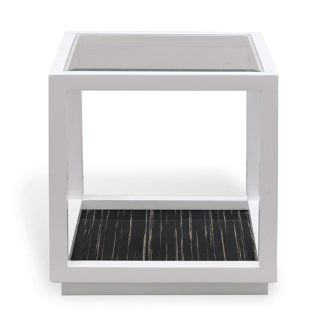 Port 68 - Dylan White and Black Cube Table - AFDS-250-04