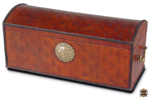 Sarreid Ltd. - Baron's Leather Box Oxblood - 14540
