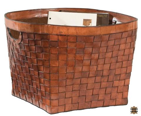 Sarreid Ltd. - Woven Leather Magazine Basket - 22147