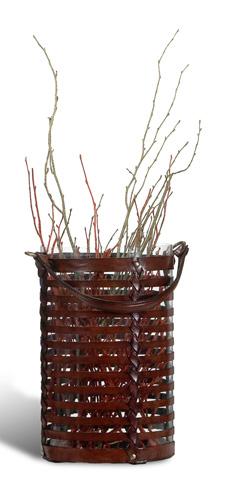 Sarreid Ltd. - Leather Basket Large Hurricane - 27749