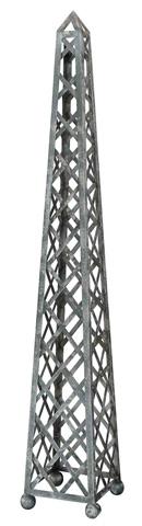 Sarreid Ltd. - Lattice Pattern Metal Obelisk - 28101