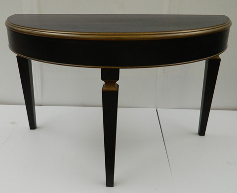 Sarreid Ltd. - Powder Black & Gold Marina Demilune Table - R057-20