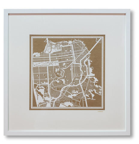 Sarreid Ltd. - Large San Francisco Framed Map - 30349