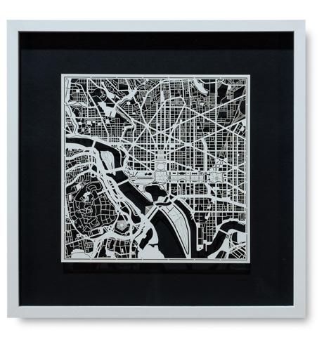Sarreid Ltd. - Small Washington D.C. Framed Map - 30356