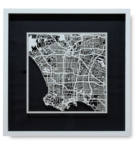 Sarreid Ltd. - Small Los Angeles Framed Map - 30358
