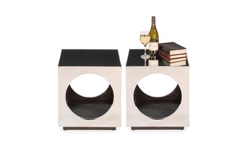 Sarreid Ltd. - Cube and Circle Side Table - Pair - 30440
