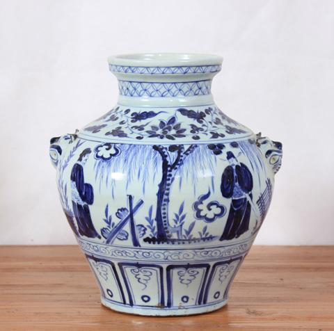Sarreid Ltd. - Chinese Scene Handpainted Vase - SA-AN079
