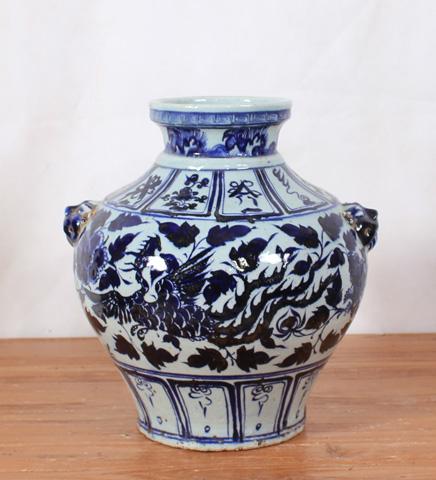 Sarreid Ltd. - Lidded Blue and White Vase - SA-AN083